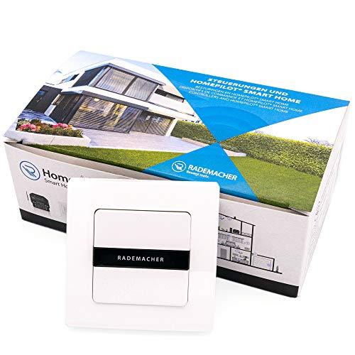 RADEMACHER 2-Fach Funk-Wandtaster (1-Kanal) für DuoFern Smart-Home Geräte - Aufputz, mit Batterie, inkl. Rahmen (9494-3, 32501973)
