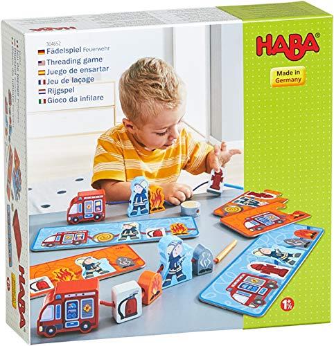 HABA 304652 - Fädelspiel Feuerwehr, Lernspiel und Motorikspielzeug ab 18 Monaten, Holzfiguren zum Fädeln mit bunten Feuerwehrmotiven