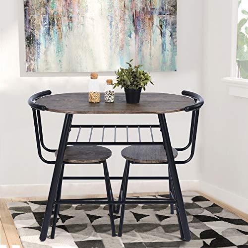 FurnitureR Juego de Comedor de 3 Piezas Conjunto Compacto de 2 sillas y Mesa con Marco de Metal y Estante…