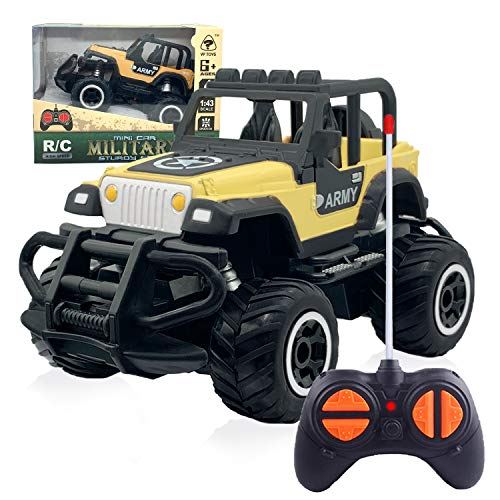 Boys Toys Age 3-8 Best Present, 2020 New Updated Remote Control Car for Kids 4-5 Years Old Mini Cool RC Car Pop Toy for Xmas Birthday Gifts for 6-7 Year Old Boys Jeep Yellow