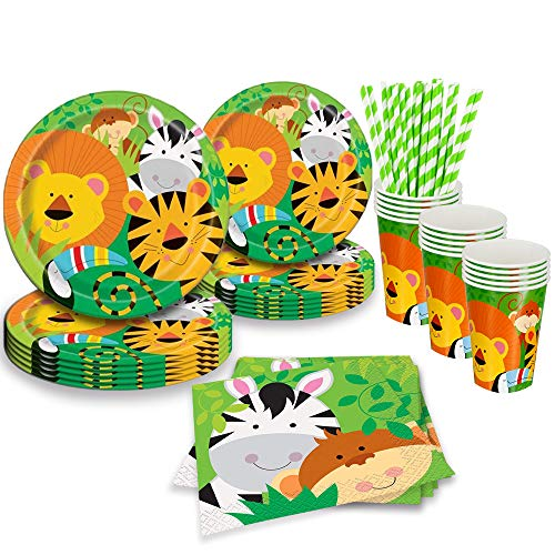 Jungle Animals Party Supplies (Animal Plates, Cups, Napkins, Straws (25 Serves))