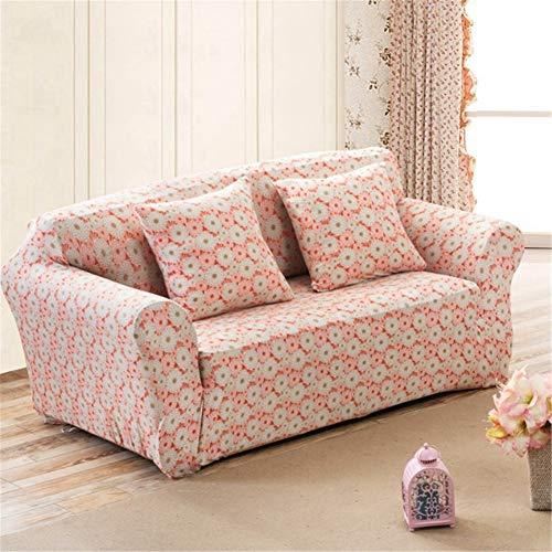 BSBDZD Hoekbank, antislip, elastisch, all-inclusive combi-bankovertrek, woonkamersofabekleding van roze bedrukte stof