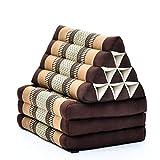 Leewadee colchón Plegable con Tres segmentos – Futón con cojín Hecho a Mano de kapok, colchoneta tailandesa, 170 x 53 cm, marrón