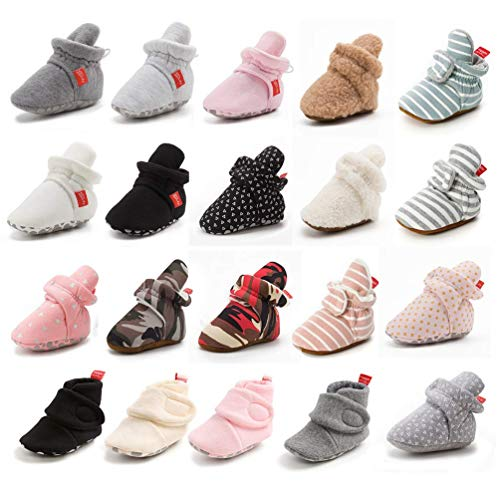 Sawimlgy Newborn Infant Baby Girl Boy Cotton Booties Stay On Sock Slippers Soft Shoes Non-Skid Ankle Boots with Grippers Toddler Crib Winter Shoe...