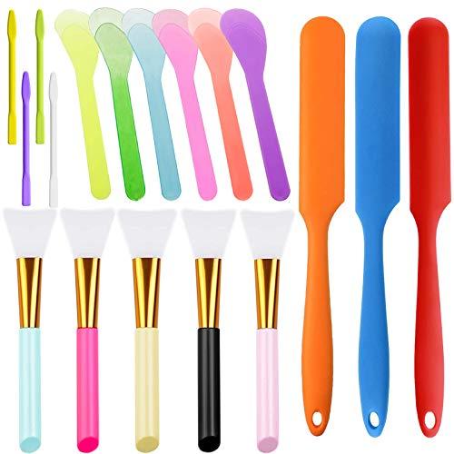 IHUIXINHE 18 Pcs Silicone Stir Sticks Set, Include 3 Pcs Silicone Spatula, 5 Pcs Silicone Epoxy Brushes, 4 Pcs Silicone and 6 Pcs Plastic Stir Sticks, for Mixing Resin, Paint, DIY Crafts, Mask