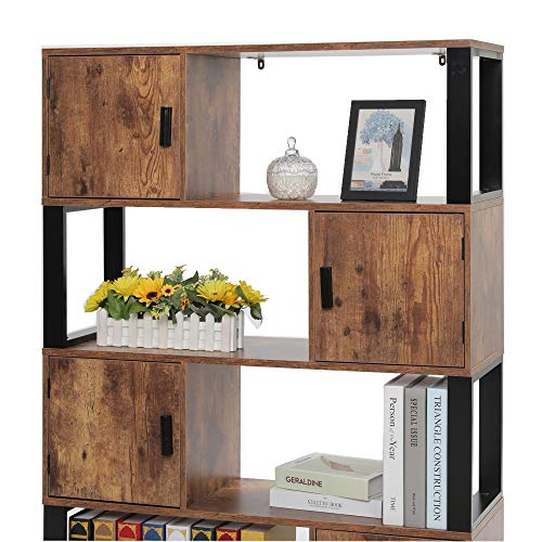 usikey Bookcase with 4 Storage Cabinet, 4 Tier Bookshelf for Living Room, Office, Storage Oraganizer with 4 Cube, Rustic Brown YSJX006X