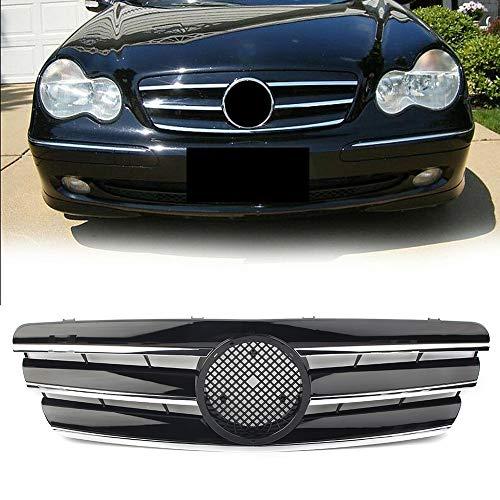 Piaobaige W203 Kühlergrill Oben, für Mercedes-Benz C-Klasse C280 C320 C240 C200 2000 2001 2002 2003 2004 2005 2006 ABS-Kunststoff