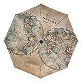 Paraguas de viaje compacto con diseño de mapamundi, para exteriores, plegable, reversible, resistente al viento, toldo reforzado, protección UV, mango ergonómico, apertura y cierre automático