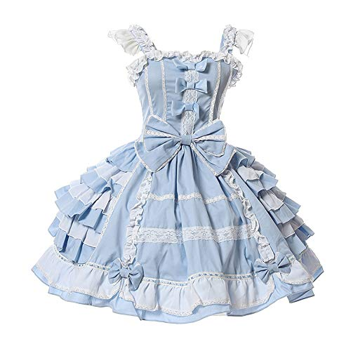 Nuoqi Girls Sweet JSK Lolita Dress Lace Frilly Princess Court Skirts Hollaween Party Cosplay Costume Dresses CC220M-XXL Blue White