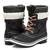 Aleader Winter Boots for Women, Waterproof Duck Snow Boots Black 7 B(M) US