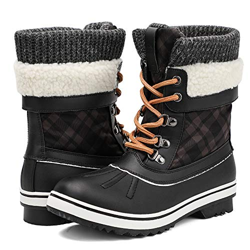Aleader Winter Boots for Women, Waterproof Snow Boots Shoes Black 8.5 B(M) US