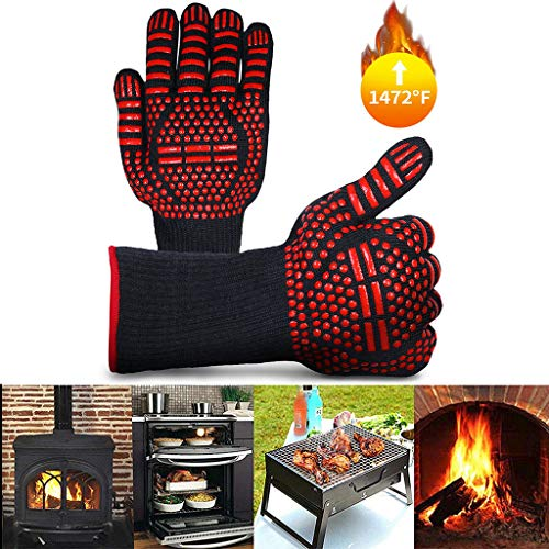 HOSAP BBQ Grilling Gloves HeatResistant Gloves Grill Glove for Men Women Smoker BBQ Cooking Up to 1472F Silicone Insulated Kitchen Cooking Oven Mitts NonSlip Cooking Gloves Barbecue Gloves