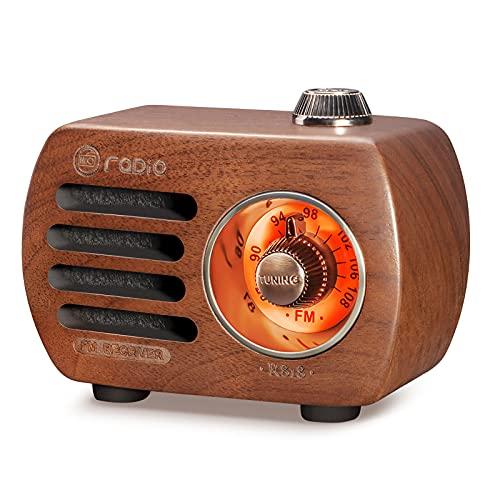 Radio de Madera PRUNUS R-818, Radio portatil pequeña, Altavoz Bluetooth,Mini Radio FM con Estilo Vintage, Radio Recargable, Altavoz Sonido de Graves, Soporta la Entrada AUX. (Madera de Nogal)