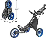 CaddyTek CaddyLite EZ Version 8 3 Wheel Golf Push Cart - Foldable Collapsible Lightweight Pushcart...