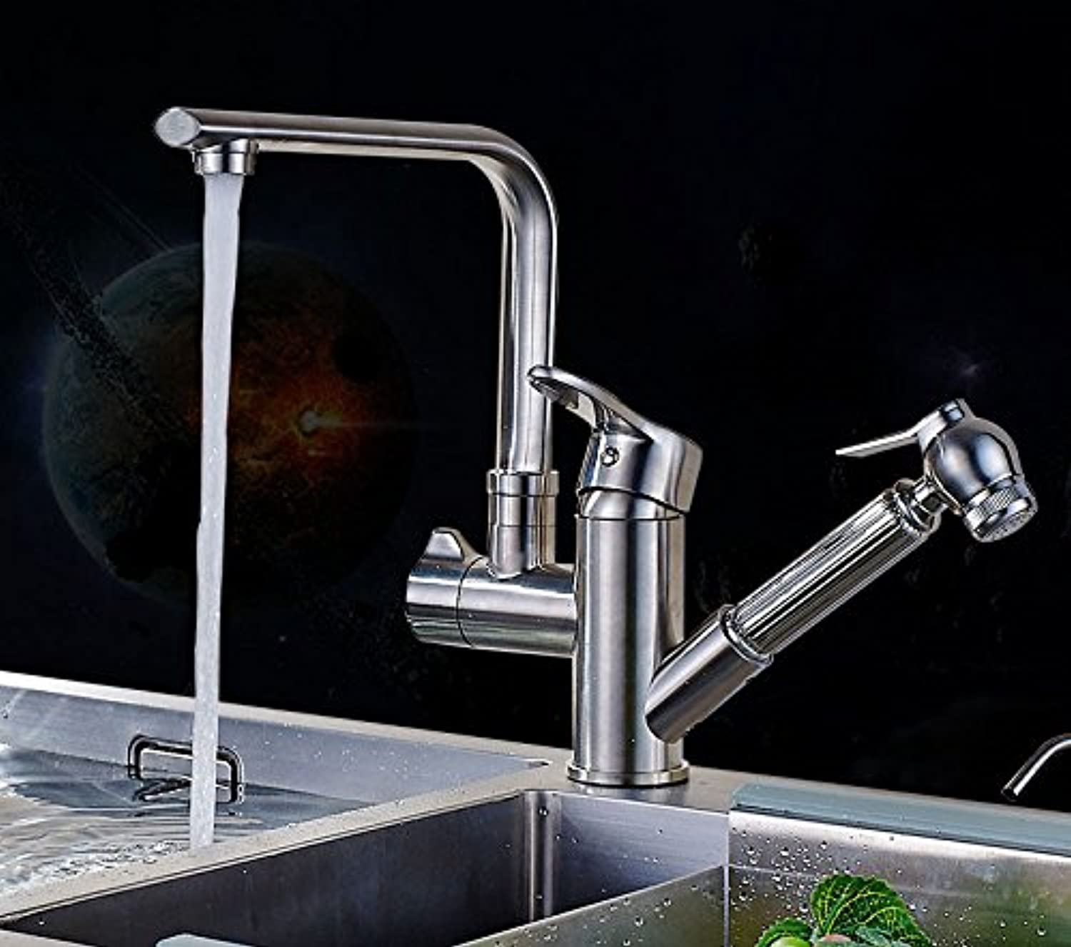 Bijjaladeva Bathroom Sink Vessel Faucet Basin Mixer Tap All copper pull kitchen faucet hot and cold dishes and wash basin sink faucet telescopic basin can be turned on tub faucet B