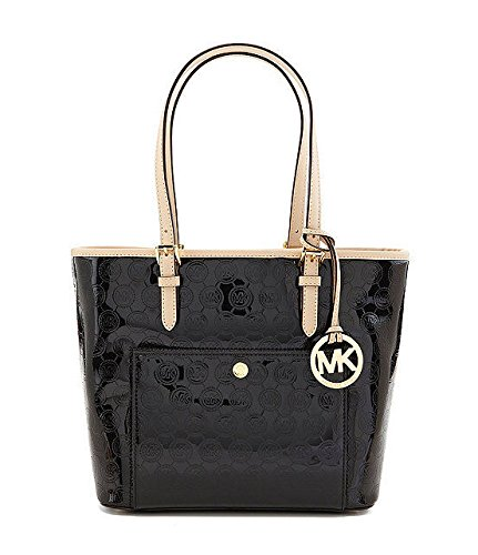 Gorgeous weather resistant patent leather with contrast leather trim; gold tone hardware Measures approx. 13 inch (W top) x 9.5 inch (H) x 5 inch (D) Fully lined interior; open top styling with multifunction pockets Two adjustable leather handles wit...