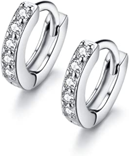 Cubic Zirconia Small Hoop Earrings Ear Cuff for Cartilage Pierced Women Teen Girls Huggie Tiny Hoops (6mm)