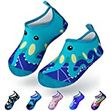 MULINSEN Toddler Water Shoes Kids Barefoot Quick-Dry Non-Slip Aqua Socks Outdoor Beach Swim Shoes for Baby Boys Girls Blue Octopus Size 8/8.5