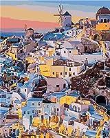 DIYデジタル絵画町の海Diyデジタル油絵壁画家の装飾アクリル画(フレームなし)40X50