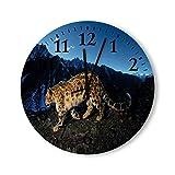 DKISEE Orologio da parete rotondo in legno con effetto leopardo, per camera da letto, soggiorno, casa, 30,5 cm x 30,5 cm