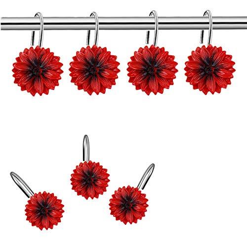 CandyGrid Red Flower Shower Curtain Hooks for Bathroom, Decorative Shower Curtain Hooks Rings, Bathroom Décor Set, Rustproof Metal Hooks -12 Pcs (Red Flower)