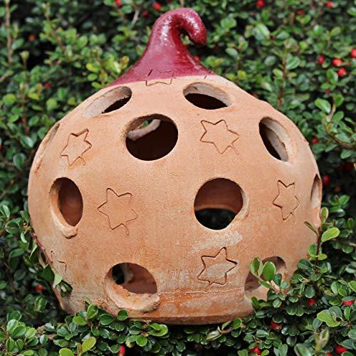 Palla Albero di Natale Terracotta (18 cm) Lanterna 100% made in Italy lavorato a mano al tornio (non a stampo) Porta candele Addobbi natalizi Decorazioni interno casa, esterno giardino