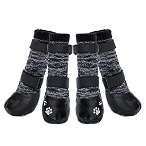 KOOLTAIL Dog Socks Anti-Slip Dog Boots with Straps Traction Control, Paw Protection Sets for Indoor Hardwood Floors & Outdoor, Fits Small Medium Large Dogs