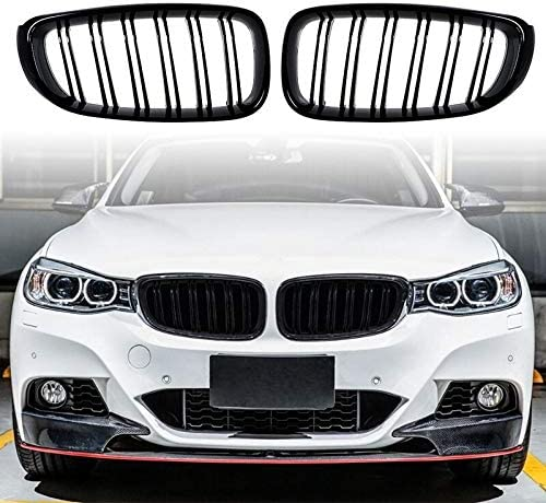 JINQIU 1 New item Pair Front Hood Glossy Kidney Dallas Mall Grille 20 Grill Black for