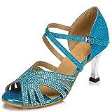 Zapatos de Baile Latino Set de Lentejuelas con Lentejuelas Blandas Suaves Coche Moderna Mujeres Shinny Ballroom Boda Baile Salón Partido Zapatos de tacón Alto,Azul,46EU
