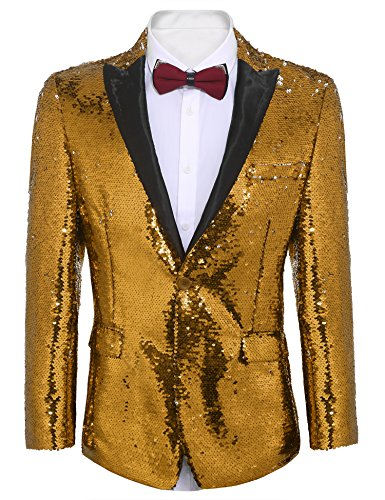 COOFANDY Men's Shiny Sequins Suit Jacket Blazer One Button Tuxedo for Party,Wedding,Banquet,Prom (L, Golden Yellow)