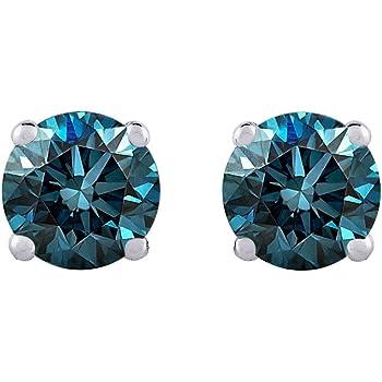 PARIKHS Princess Cut Blue Diamond Solitaire Pendant /& Diamond Stud Set AAA Quality Yellow Gold 0.10ct