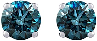 Blue Round Brilliant Cut Diamond Earring Studs in 14K White Gold in (1/5 cttw)
