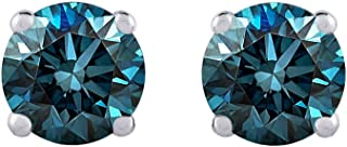Blue - I1 Round Brilliant Cut Diamond Earring Studs in 14K Gold