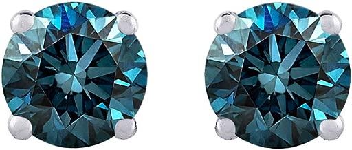 Blue - I1 Round Brilliant Cut Diamond Earring Studs in 14K Gold