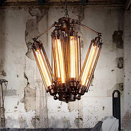 Chandelier Pendant Light Fixture Industrial Retro LOFT Steampunk Flute Lamp Tube Shape Design 8 Heads Rusty Color Wrought Iron Ceiling Lighting E27 Fixture Diameter 18.5 Inch for Bar Cafe Living Room steampunk buy now online