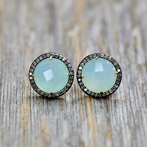 Genuine Aqua Blue Chalcedony Max 54% OFF Pave Brand new - Stud Diamond Women' Earrings