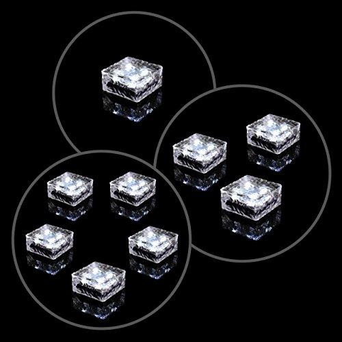 5er Set Solar Glasstein Pflasterstein Bodenleuchte Dekoleuchte mit 4 LED 10 x 10 x 4,5 cm robustes Milchglas mit Akku & Dämmerungssensor weiß