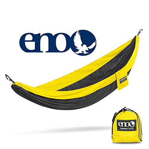 Eagles Nest Outfitters ENO SingleNest Hammock, Portable Hammock for One, Black/Yellow