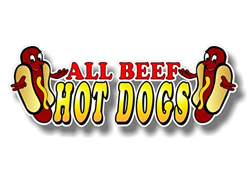 1 All Beef Hot Dogs 13 Decal for Concession Trailer or Hot Dog Cart Menu Board Vinyl Stickers Decals ((1) 4.5x 13)