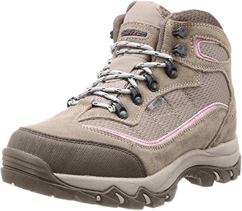 HI-TEC Women's Skamania Mid-Rise Waterproof Hiking Boot, Natural/Pink, 9.5