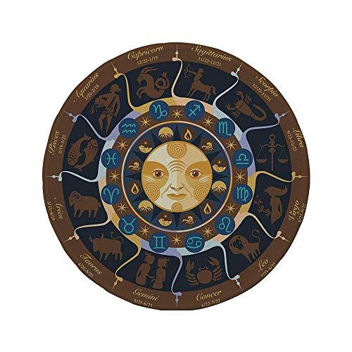 Rutschfeste Gummi-Runde Mauspad Astrologie Widder Stier Zwillinge Krebs Leo Jungfrau Waage Skorpion Horoskop Zeichen Braun Gelb und Blau 7.9