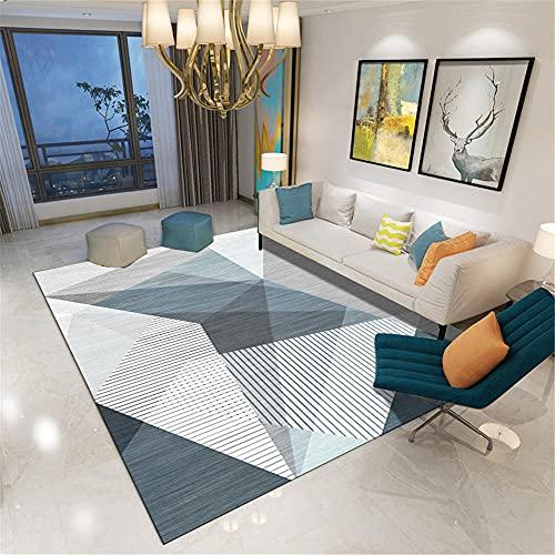 La alfombras alfombras Gateo Bebe Alfombra Moderna con patrón de triángulo geométrico Rayado Blanco Gris Azul Home Decoracion moqueta terraza 80*160cm