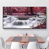 Cascada Natural paisaje lienzo pintura bosque árbol rojo paisaje carteles e impresiones cuadro de arte de pared para decoración de sala de estar 60x120 CM (sin marco)