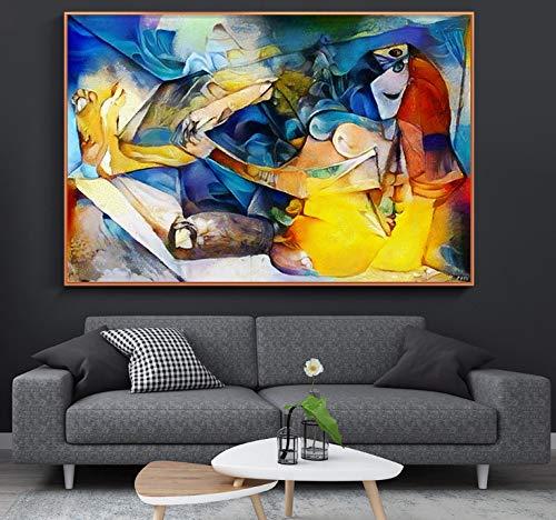 Decoración para el hogar moderna Obras de arte famosas de Picasso Cuadros de pared para sala de estar Impresión en alta definición Lienzo Pinturas al óleo Dormitorio Poster 30X45 cm sin marco