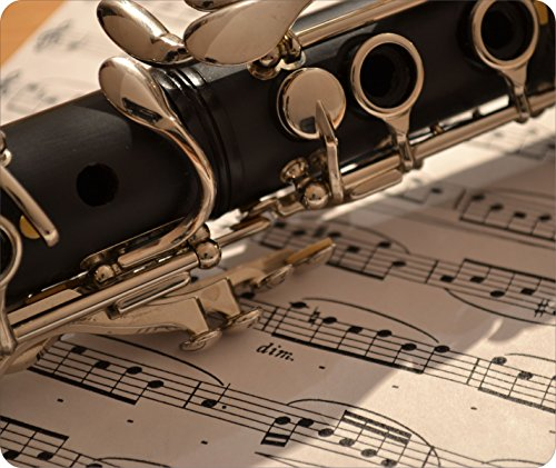 Mouse Pad Clarinet Music Melody Woodwind Instrument Band Class Musical 1/8 Thick Fabric Topped Rubber Back Customizable by TYD Designs