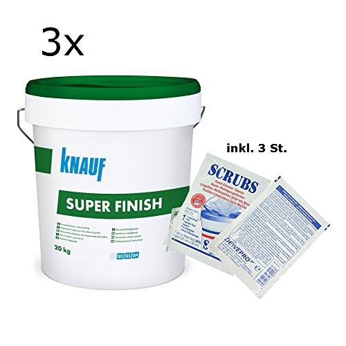 3x Knauf Super Finish - Allzweckspachtelmasse - im Set inkl. 3 St. DEWEPRO® Single Scrubs