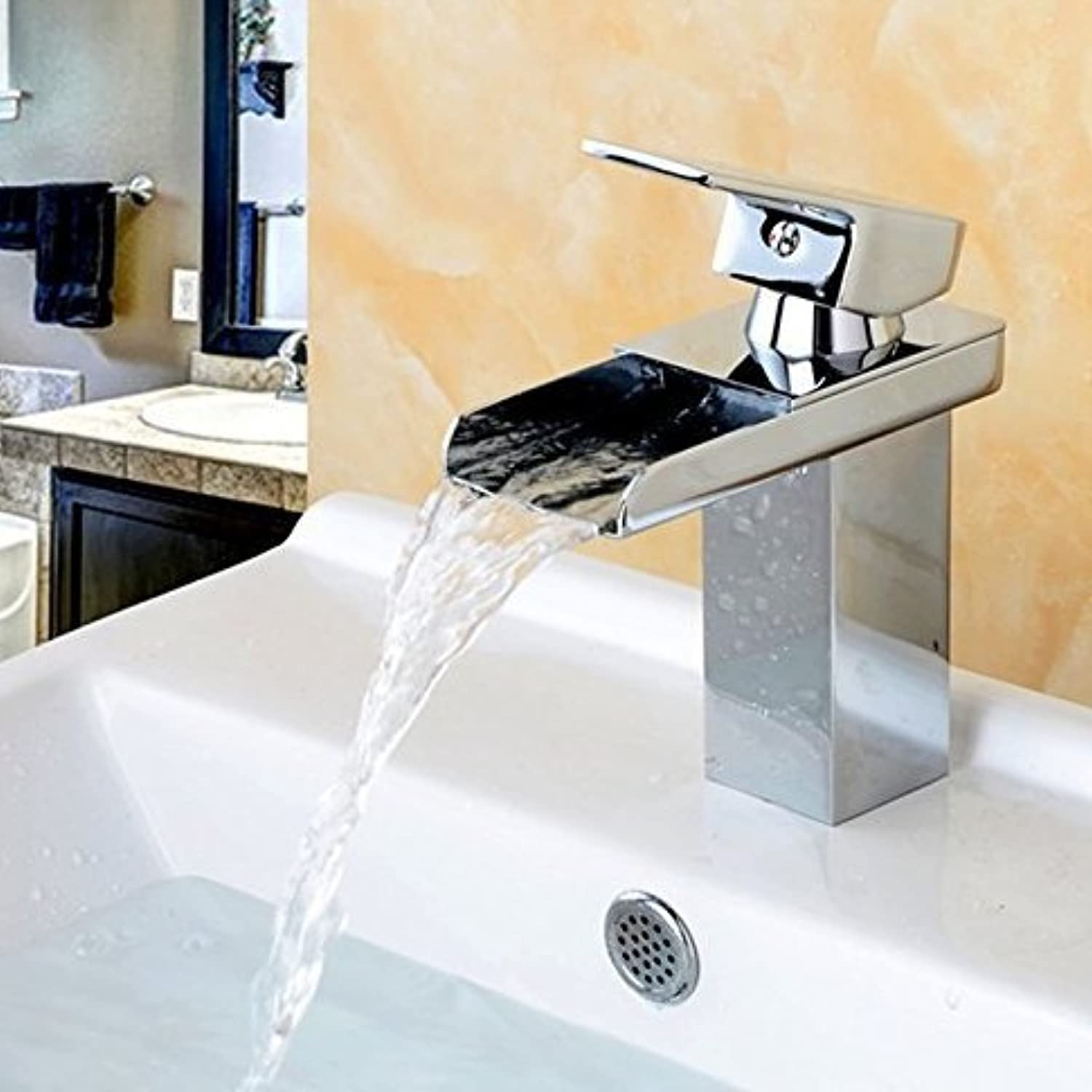 Deck Mount Waterfall Bathroom Faucet, Vanity Vessel Sinks Mixer Tap Cold and Hot Water Tap Chrome Finish