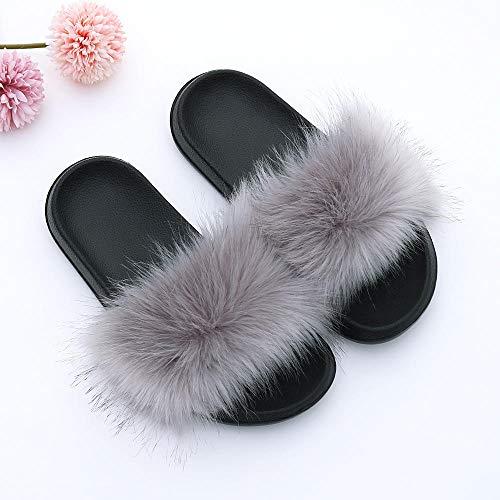 Perferct Zapatillas de Estar por casa Mujer Invierno,Nuevos Modelos de Zapatillas de Piel de Zorro,...