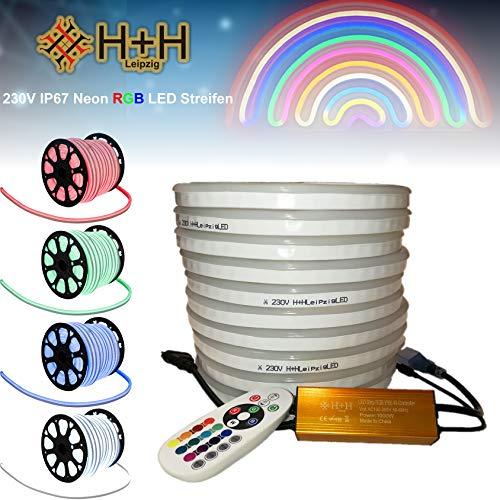 20 Meter H+H Leipzig 230V IP67 Neon RGB LED Strip 5050 SMD 80LEDs /M Mehrfarbig Streifen Lichtband Lichtleiste Lichtschläuche Lichtschlauch mit Infrarot (IR) Netzteil Controller Fernbedienung