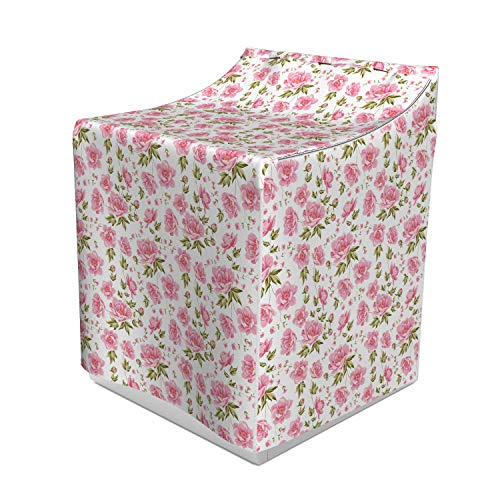 """Lunarable Peonies Washer Cover, Shabby Flowering Tree Branches Romantic Summer Cherry Blossom Twigs, Waterproof Dustproof Decorative Fabric, 29"""" x 28"""" x 40"""", Olive Green Pink White"""